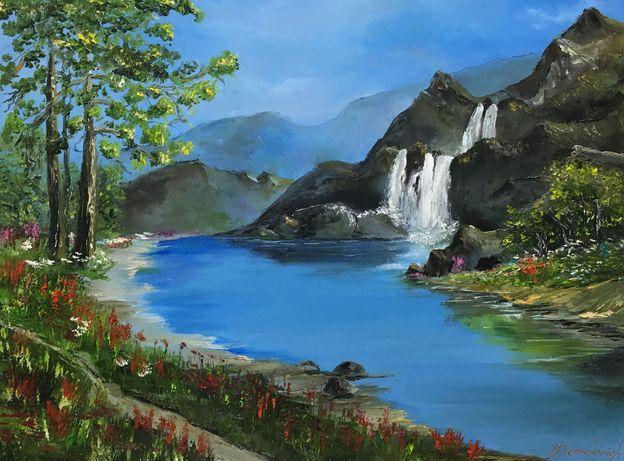 Картина «Природа» масло живопись  горы река лес