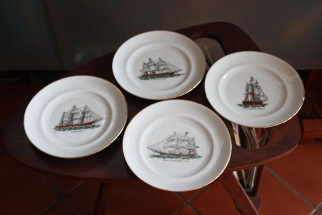 4 pratos Vista Alegre com desenhos de veleiros
