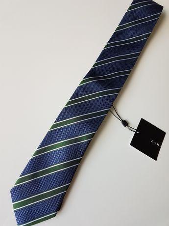 Męski granatowy krawat w pasy Zara