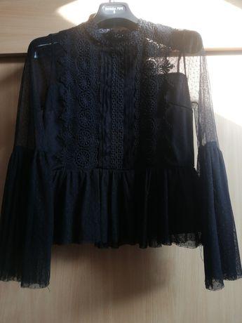 Czarna koronkowa elegancka bluzka 34