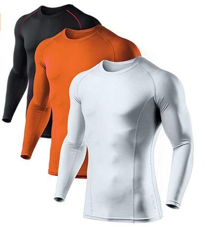 1 pacote 3 camisas masculinas de manga comprida de compressão