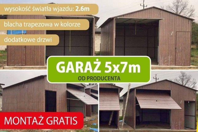 Garaż blaszany 5x7m, dwuspadowy, brama uchylna WZMOCNIONY producent