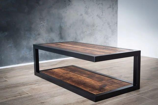 Журнальний столик лофт масив бука, ясеня, сосны, дуба кофейний LOFT