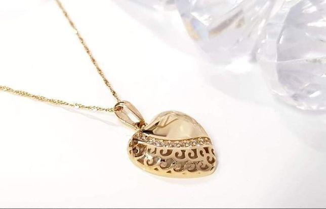 Złota zawieszka serce