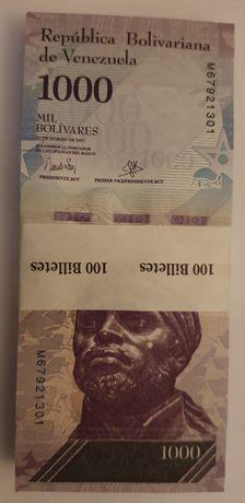 1 maço de 100 notas UNC da Venezuela