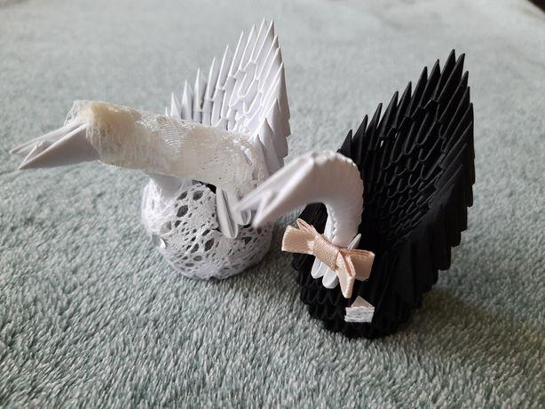 Okazja łabędzie origami 3D para młoda 2 sztuki ozdoba dekoracja