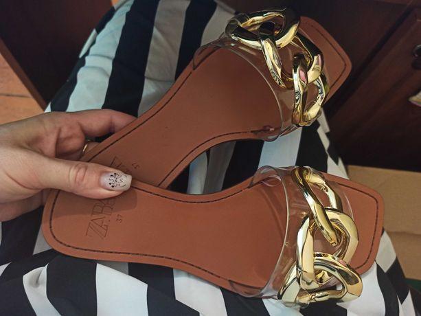Стильные прозрачные сандалии шлепки Zara Зара с цепочкой с цепью