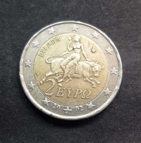 Moeda 2 euros da Grécia com defeito de cunhagem
