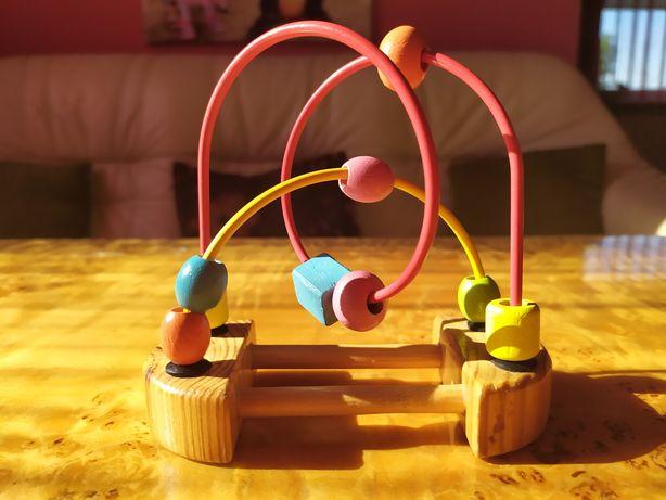 Mini drewniana zabawka kulki dla niemowlaka! Do wózka, do raczki. EDUK