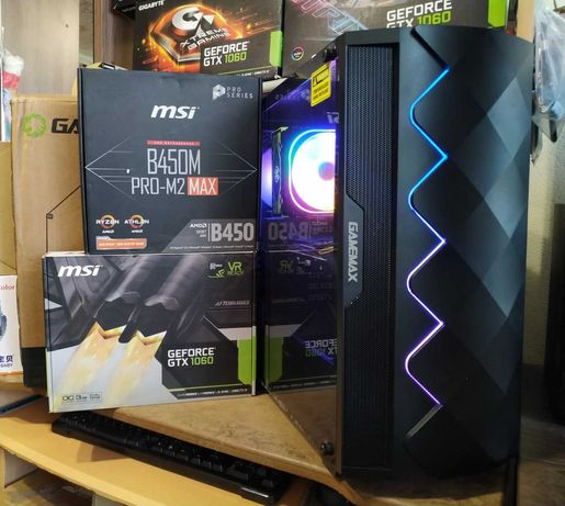 ПК Игровой RYZEN 5 2600 3.9Ghz, GTX 1060, 16GB DDR4, SSD 120GB, 1TB