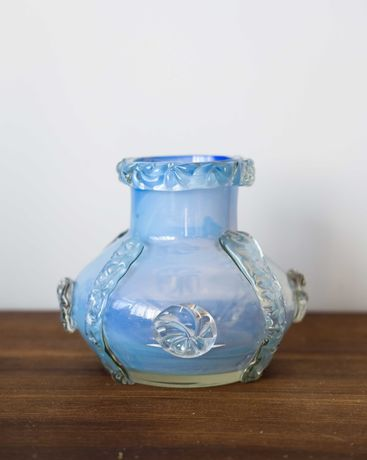 Винтажная стеклянная ваза СССР,голубое стекло,советский винтаж,посуда