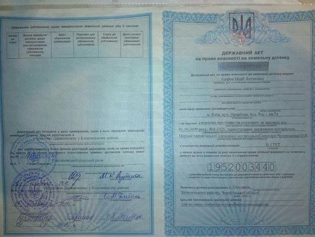 Продам участок 17,57 соток с. Омельянов Козелецкий р-н