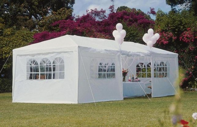 Nowy solidny Pawilon Ogrodowy 3x9m namiot kolor: BIAŁY 8 ścianek