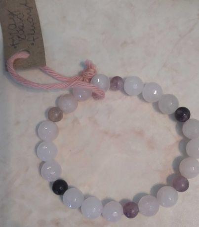 Bransoletka z rozowego kwarcu i fluorytu handmade