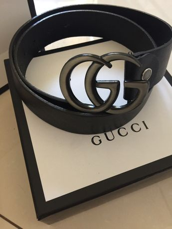 Piękny skórzany pasek Gucci klamra stare srebro