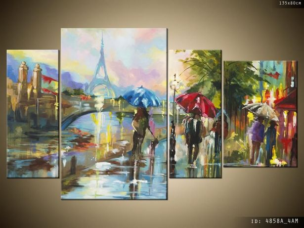 Paryż w deszczu, Obrazy na płótnie, Pomysł na prezent, Canvas, Tryptyk