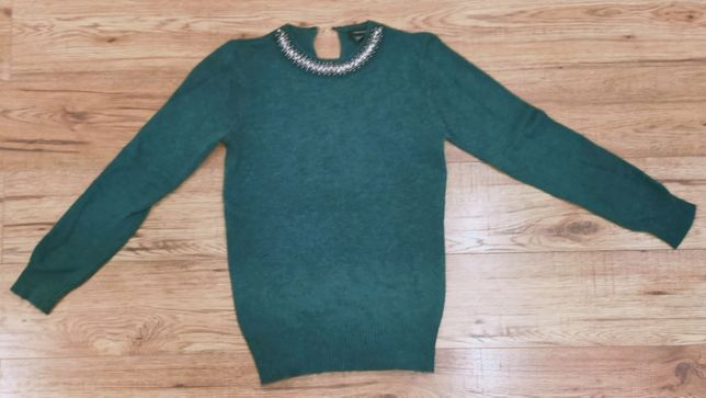 OKAZJA sweter cieplutko butelkowa zielen dlugi rekaw z ozdobami