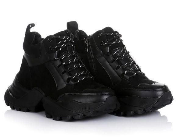 Черные Серые женские ботинки кроссовки зима 36-41 ХИТ! НАЛОЖКА!