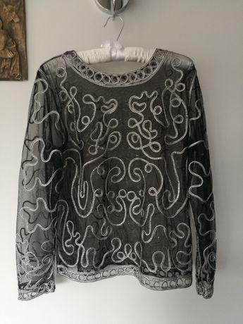 Bluzka czarna srebrna, tiulowa, prześwitująca, wizytowa, rozmiar L, XL