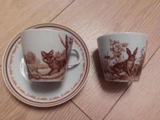 "Чайно-кофейный сервиз ""ОХОТА"", фарфор, Fine China Lichte, Дрезден, ГДР"