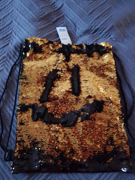 Worek cekiny plecak błyszczący złoty czarny nowy z metką