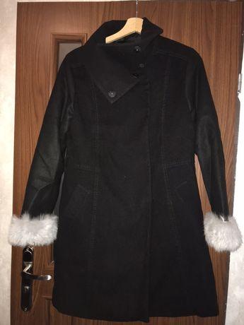 Płaszcz zimowy flausz czarny od H&M