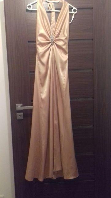 Sukienka suknia wieczorowa długa s złota h&m wesele bal