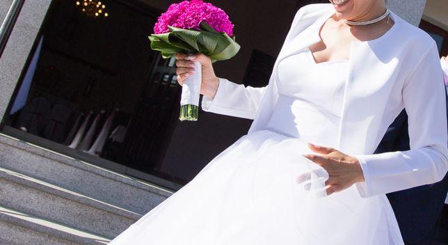 Suknia ślubna 36/38 Princessa falbany