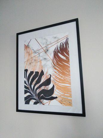 Obraz liście w czarnej ramie