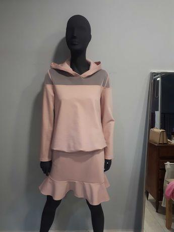 Komplet mini spodnica i bluza z kapturem pudrowy róż r. S/M -50%