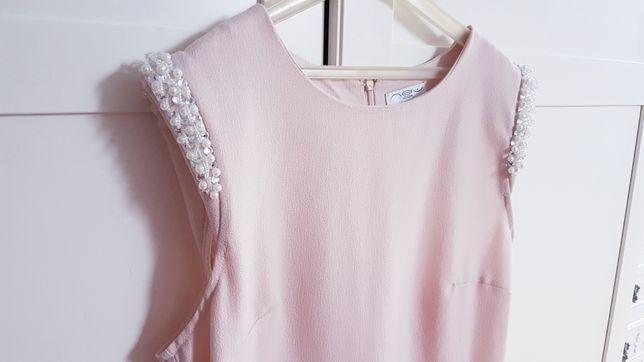 New look pudrowy róż Bluzka top elegancka z baskinką zdobienia M