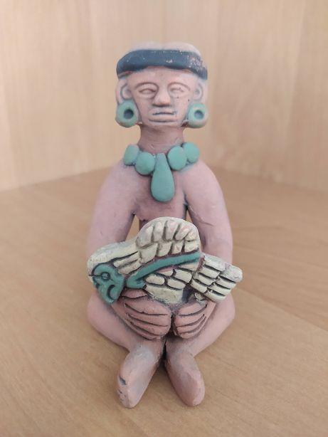 Figurka z terakoty Aztec Mexico wojownik z ofiarą
