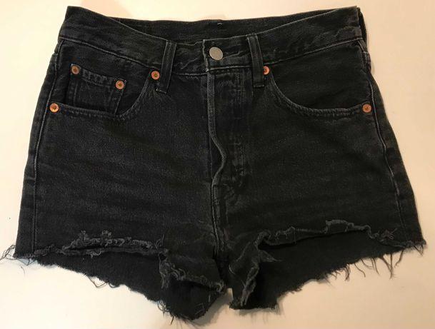 LEVI'S 501 czarne spodenki krótkie jeans SUPER W24 w b. db. - stanie