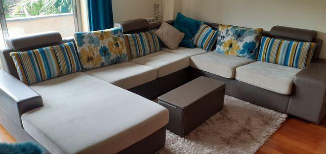 Sofá cama c/chaiselonge + puff arrumação