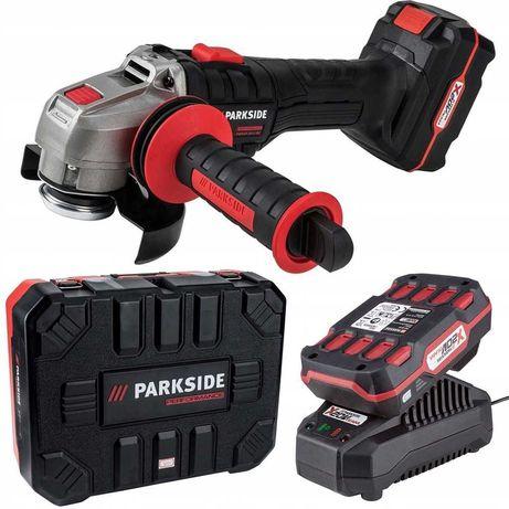 Zestaw. Szlifierka Parkside PWSAP 20-Li akumulatorowa