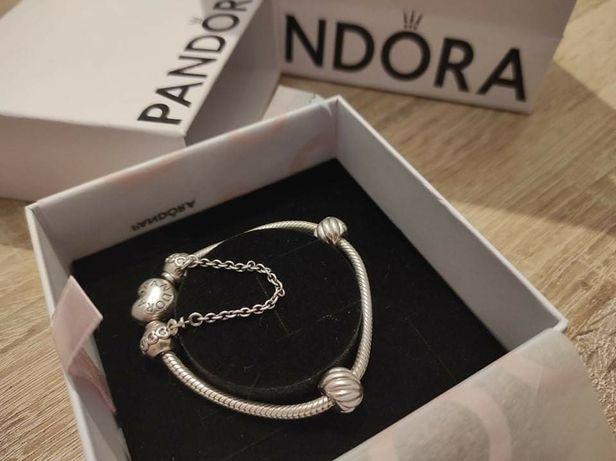 Pandora bransoleta bransoletka z łańcuszkiem i klipsami