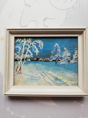 Mały olejny obrazek Zima miasteczko miniatura