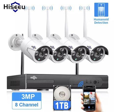 Zestaw do monitoringu HISEEU 4 kamery bezprzewodowe + rejestrator 1TB