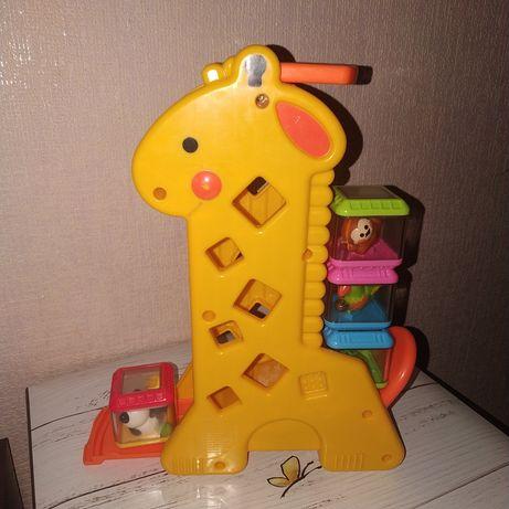 Музыкальный жираф с сенсорными кубиками fisher price