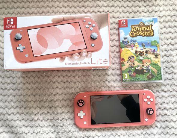 Konsola Nintendo switch lite coral + animal crossing