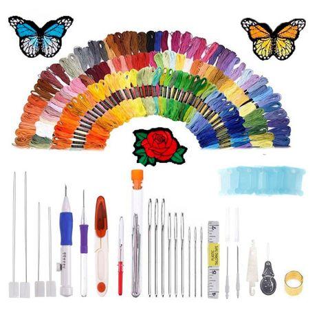Набор для вышивания 136 предметов для вышивки, нитки, инструменты