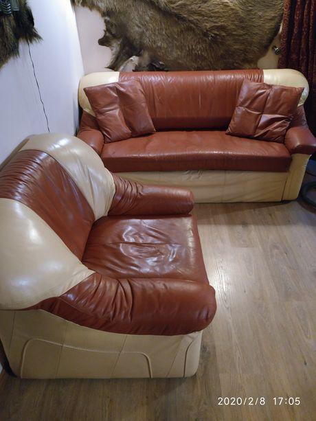 Zestaw wypoczynkowy, kanapa, fotel, naturalna skóra
