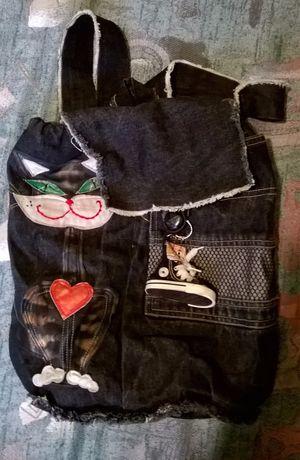 Рюкзак Кошка из черного джинса. авторская работа. Новый