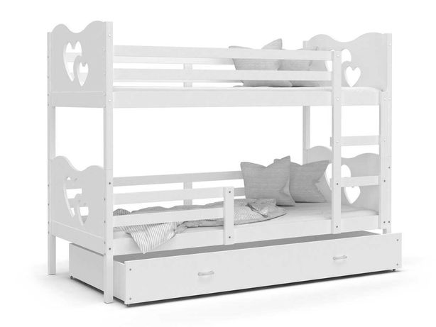 Łóżko piętrowe Max, serca, + materac, białe, 80x190 cm