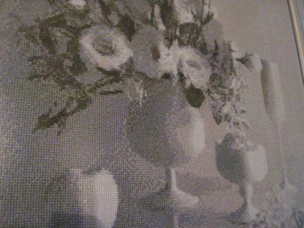 """Вышивка крестом, картина , натюрморт """"Белые пионы"""" 43х42 (см)"""