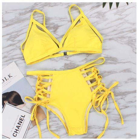 Новый желтый купальник со шнуровкой размер М