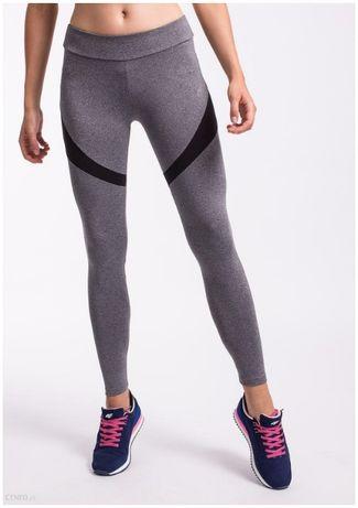 NOWE 4F legginsy treningowe fitness running szare czarne wstawki L 40