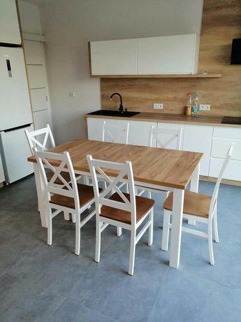 PROMOCJA! Zestaw krzyżak stół rozkładany + 6 krzeseł HIT!