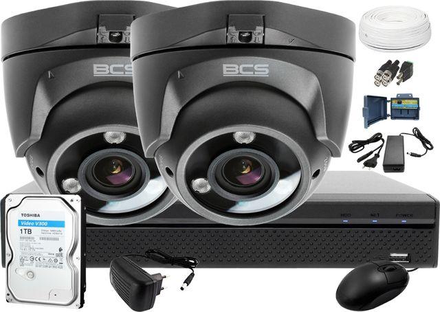 BCS-XVR0401+ 2x Kamera BCS-DMQE3200IR3+ Dysk 1TB + Akcesoria
