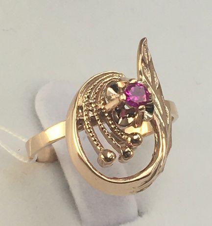 Кольцо золотое рубин 583 проба, советское, а752